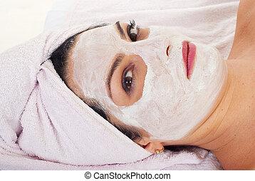 primo piano, di, wman, con, maschera facciale
