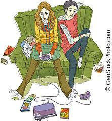 primo piano, donne, divano, seduta