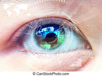 primo piano, donne, occhio, scansione, tecnologia, in, il,...
