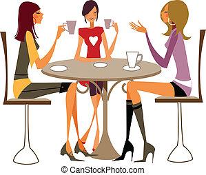primo piano, donne, sedia, seduta