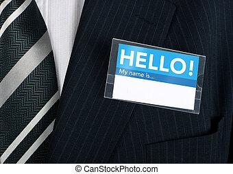 primo piano, etichetta, dare benvenuto, nome