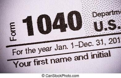 primo piano, forma 1040, tassa, stati, unito