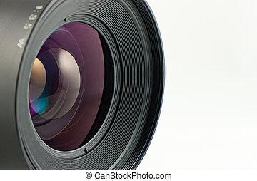 primo piano, formato medio, lente, macchina fotografica, fronte