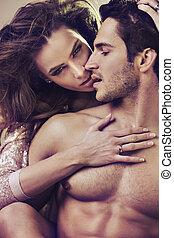 primo piano, foto, di, attraente, giovane coppia