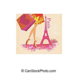 primo piano, gambe, shopping, donne, parigi