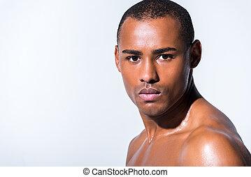 primo piano, grigio, shirtless, giovane, isolato, dall'aspetto, americano, macchina fotografica, africano, ritratto, uomo