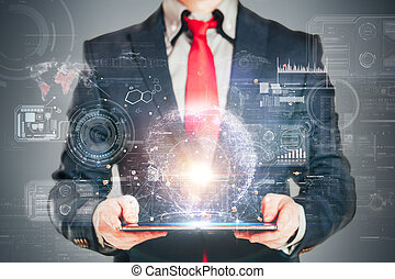primo piano, immagine, di, uomo affari, presa a terra, uno, tavoletta digitale