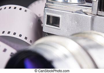 primo piano, lente, macchina fotografica, metallo, vecchio, viewfinder., foto