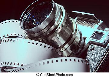 primo piano, macchina fotografica, vecchio, metallico, color., foto