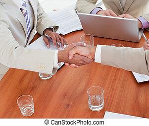 primo piano, mani scotendo, persone affari