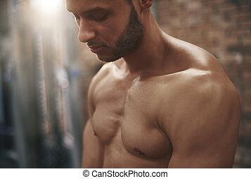 primo piano, muscolare, uomo