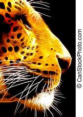 primo piano, neon, leopardo, isolato, faccia, vettore, vista laterale