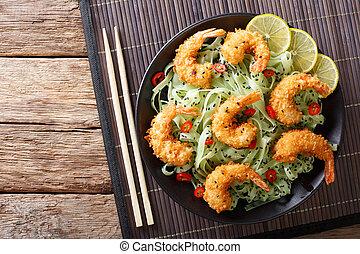 primo piano, piastra., tempura, cima, gamberetto, sesamo, verde, pasta, orizzontale, vista