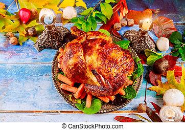 primo piano, pollo, tavola, delizioso, ringraziamento, cotto...