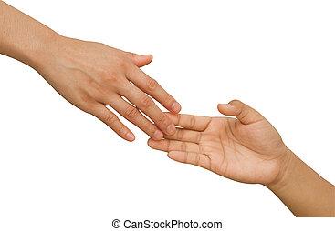primo piano, raggiungimento, mano., mani, portata, altro, umano, ciascuno, tentando