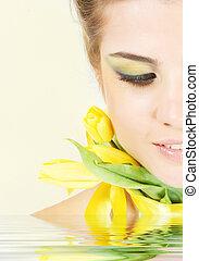 primo piano, riflessione, tulips, acqua, portait, fresco