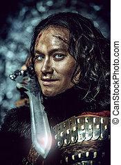 primo piano, ritratto, di, il, antico, maschio, guerriero, in, armatura, presa a terra, sword., storico, character., fantasy.