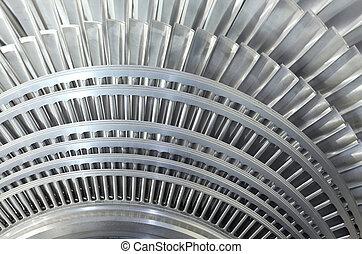primo piano, rotore, di, uno, vapore, turbina