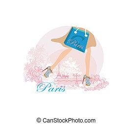 primo piano, shopping, parigi, gambe, donne