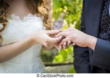 primo piano, sposa, groom's, mettere, dito, fede