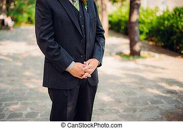 primo piano, sposo, mani