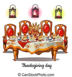 primo piano, stanza, festivo, cibo, vendemmia, ringraziamento, isolato, day., cenando, vettore, fondo., interno, tavola, bianco, cartone animato, illustration.