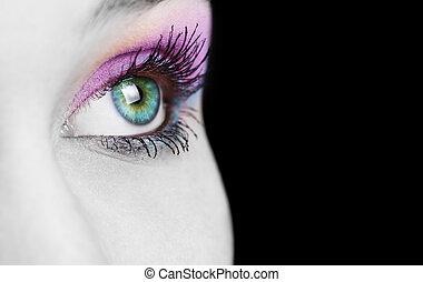 primo piano, su, occhio femmina, con, colorito, truccare