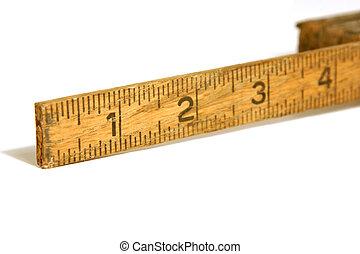 primo piano, su, un, vecchio, nastro di misura, /, righello