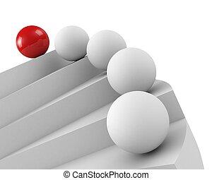 primo piano, success., concept., direzione, scale, downview