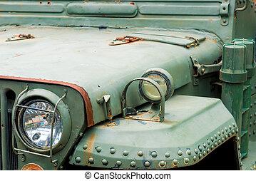 primo piano, vecchio, automobile, faro, arrugginito, militare