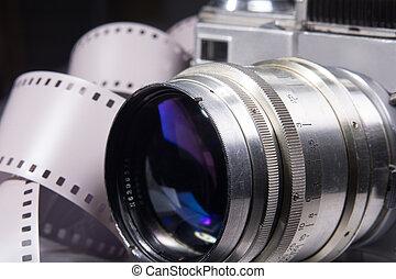 primo piano, vecchio, foto, color., macchina fotografica, metallico