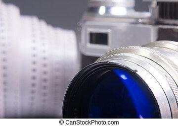 primo piano, vecchio, foto, metallo, lente, macchina fotografica, mirino