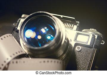 primo piano, vecchio, fotografie a colori, metallico, macchina fotografica