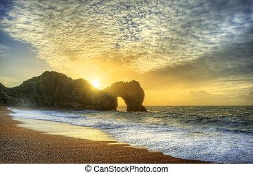 primo piano, vibrante, sopra, oceano, roccia, pila, alba