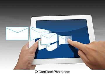 primo piano, vista, mani, toccante, ipad, sociale, rete