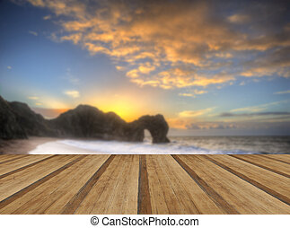 primo piano, wo, vibrante, sopra, oceano, roccia, pila, alba