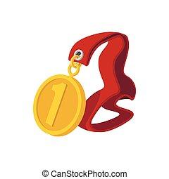 primo posto, medaglia, su, uno, nastro rosso, cartone animato, icona