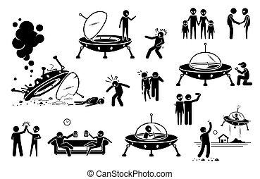 primo, umano, straniero, contatto, friend., ufo, diventare