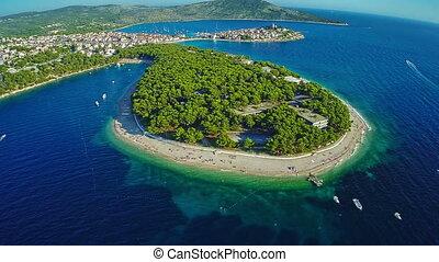 Primosten beaches aerial shot - Aerial shot of Primosten...