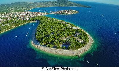 Primosten peninsula aerial shot - Aerial shot of Primosten...