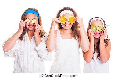 primping, 女の子, 楽しい時を 過すこと, ∥で∥, フルーツ, に薄く切る