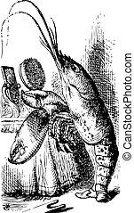 primping, wonderl, alice's, -, aventures, homard, miroir, avant