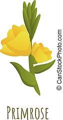 Primrose flower icon. Cartoon of primrose flower vector icon for web design isolated on white background