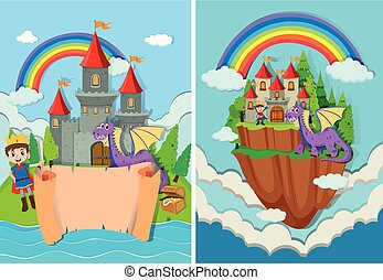 Prince and Dragon at Castle illustration