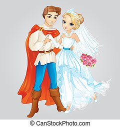 Prince And Princess Married - Vector illustration of...