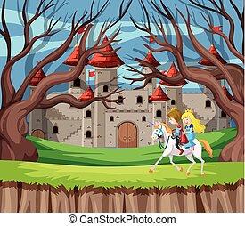 Prince and princess riding horse
