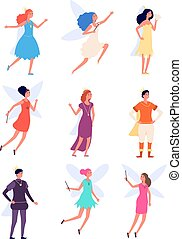 Prince and princess. Royal medieval person, king and queen costumes. Fairy characters, fantasy fairies and monarchy boy and girl vector set