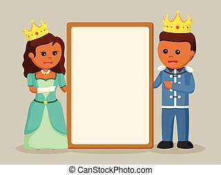 Prince and princess with blank board