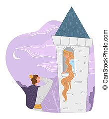 Rapunzel fairy tale, prince rescuing princess with long hair locked in tall tower or fortress. Enchanted girl, charmed personage or story for kids. Breaking curse, charming lady and gentleman, vector