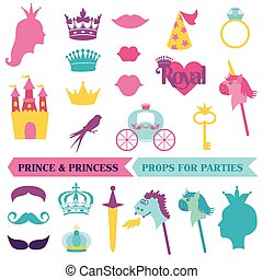 Prince and Priness Party set - photobooth props - crown,...